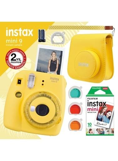 Fujifilm instax mini 9 Sari Fotograf Makinesi ve Hediye Seti 3 Renkli